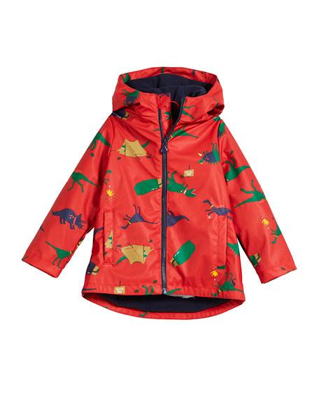 Joules Skipper Hooded Dino Rain Coat, Size 2-6