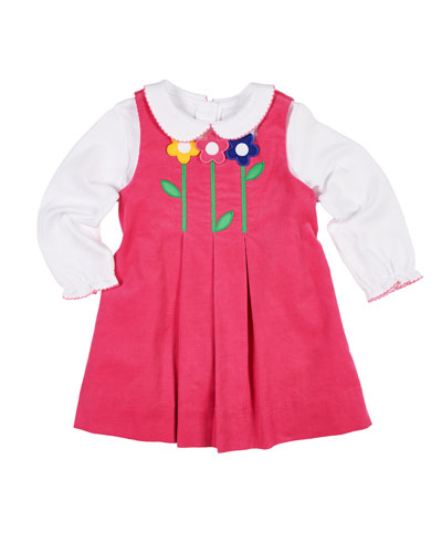 Pleated Corduroy Dress w/ Long-Sleeve Top, Size 9-24 Months