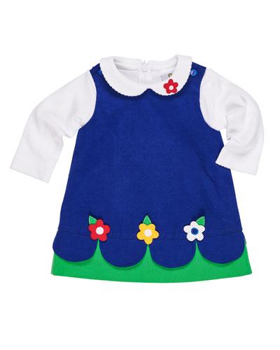 Scallop-Hem Corduroy Dress w/ Peter Pan-Collar Top, Size 12-24 Months