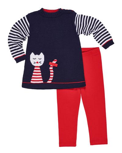 Knit Cat Intarsia Tunic w/ Matching Leggings, Size 2-6X