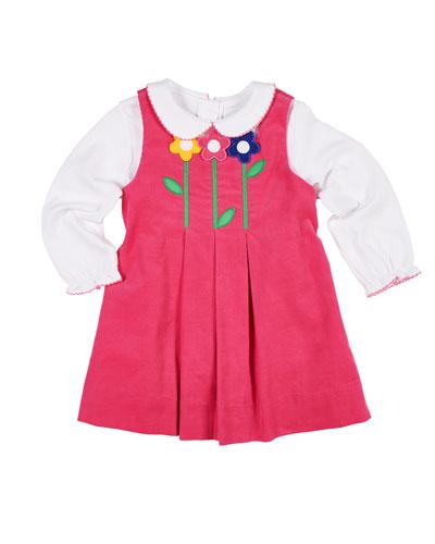 Pleated Corduroy Dress w/ Long-Sleeve Top, Size 2-6X