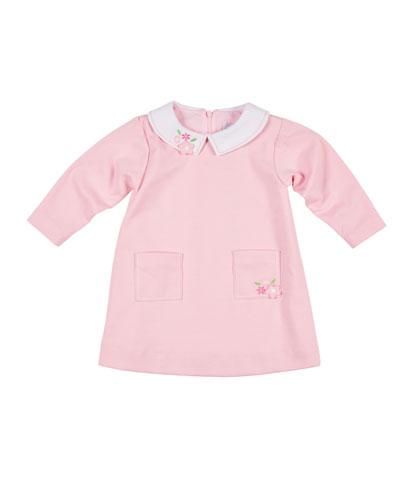 Ponte Long-Sleeve Dress w/ Flower Embroidery, Size 2-4
