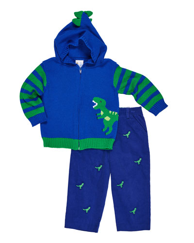 Hooded Dinosaur Zip-Up Sweater w/ Corduroy Embroidered Pants, Size 2-4