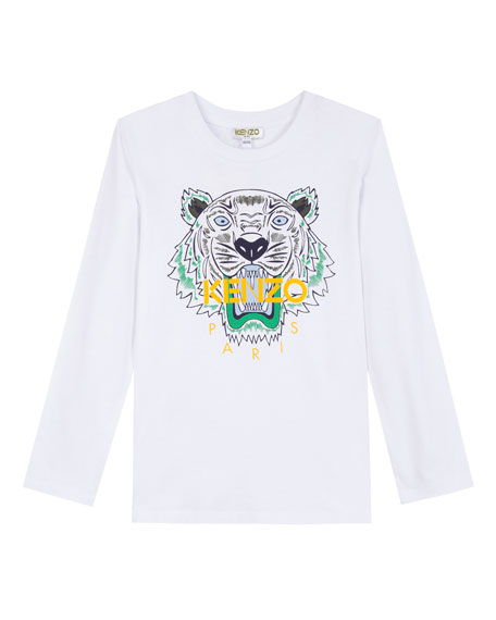 Kenzo Long-Sleeve Tiger Icon Tee, Size 14-16