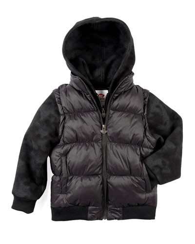 Turnstile Hooded Quilted Jacket w/ Zip-Off Sleeves, Size 2-10