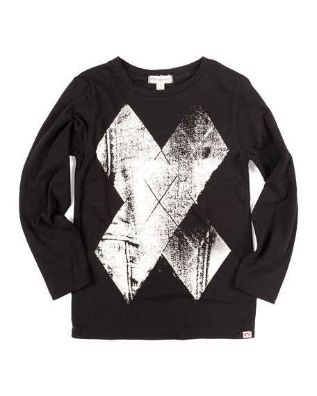 Appaman Fine Line Metallic X Long-Sleeve Tee, Size