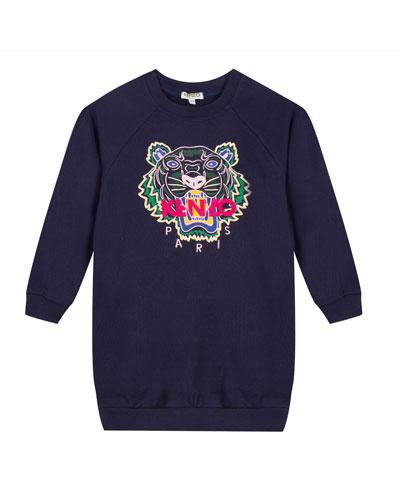 Tiger Embroidered Sweatshirt Dress, Size 2-6