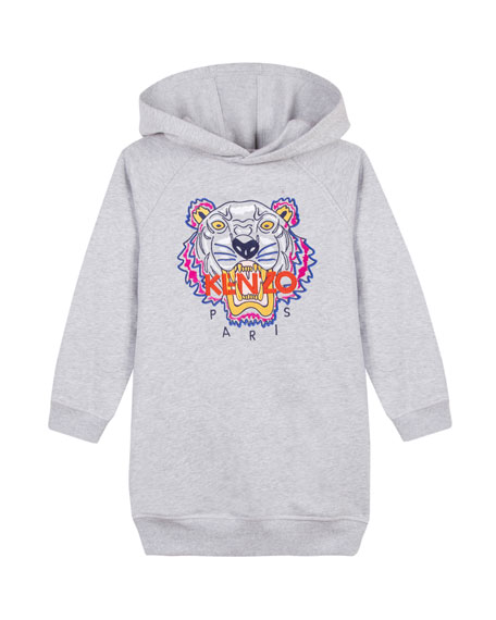 Fleece Tiger Embroidered Hoodie Dress, Size 14-16