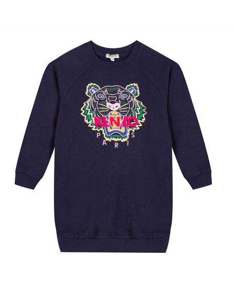 Tiger Embroidered Sweatshirt Dress, Size 14-16