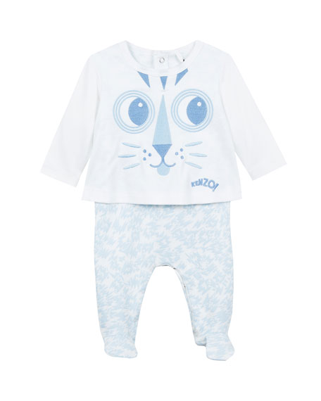 Baby Tiger Face Embroidery Tee w/ Animal-Print Footed Leggings, Size 3-9 Months