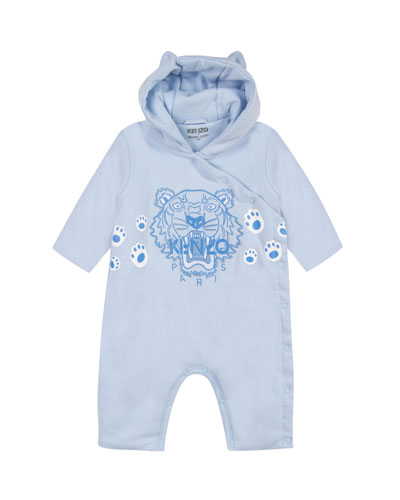 Hooded Fleece Coverall w/ Tiger Icon Embroidery, Size 6-18 Months