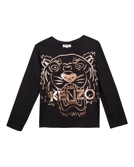 Metallic Tiger Face Icon Long-Sleeve T-Shirt, Size 8-12