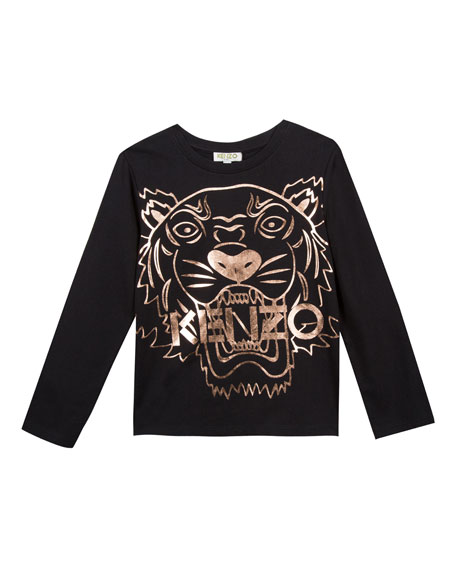 8873bba1d Kenzo Metallic Tiger Face Icon Long-Sleeve T-Shirt, Size 14-16