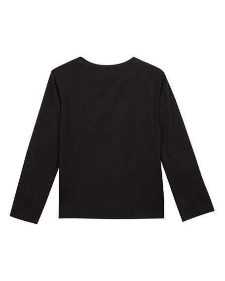 Metallic Tiger Face Icon Long-Sleeve T-Shirt, Size 4-6