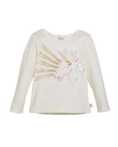 Embellished Unicorn Tee, Size 4-8
