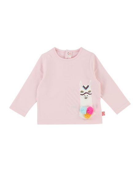 Billieblush Long-Sleeve Llama T-Shirt, Size 12-18 Months