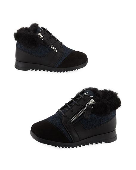Giuseppe Zanotti Nero Mixed Materials Sneakers, Toddler