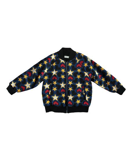 872198f8e909 Stella McCartney Kids Tapestry Hearts   Stars Bomber Jacket