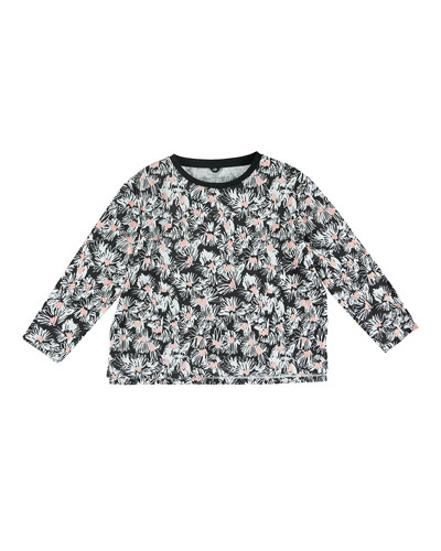 Allover Flower-Print Sweater, Size 4-14