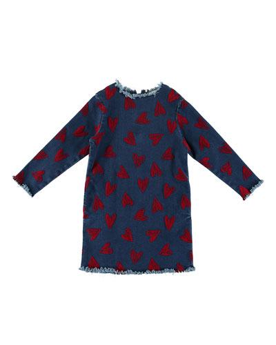 Raw-Edge Long-Sleeve Heart Dress, Size 4-14