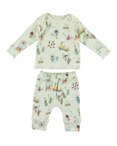 Cartoon Bug-Print Long-Sleeve Top w/ Matching Leggings, Size 6-36 Months