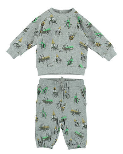 Cartoon Bug-Print Sweatshirt w/ Matching Sweatpants, Size 6-36 Months