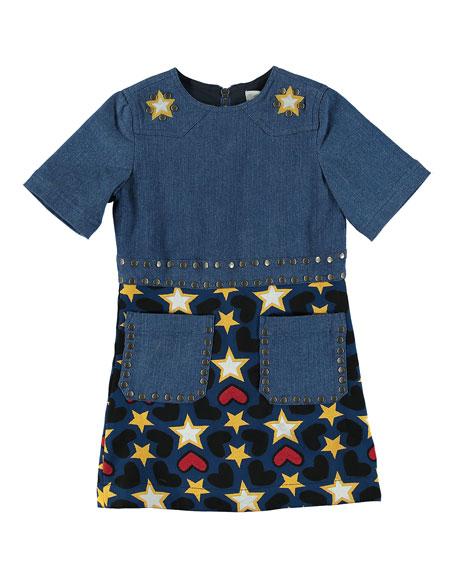 Stella McCartney Kids Denim Heart & Stars Short-Sleeve