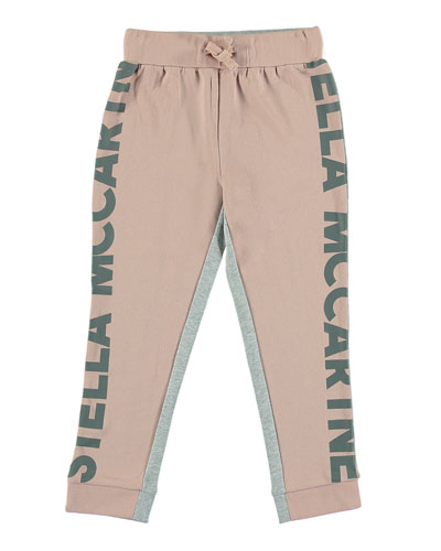 Two-Tone Logo-Sides Athletic Pants, Size 4-14