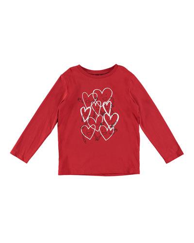 Smiling Hearts Cartoon Long-Sleeve Tee, Size 4-10