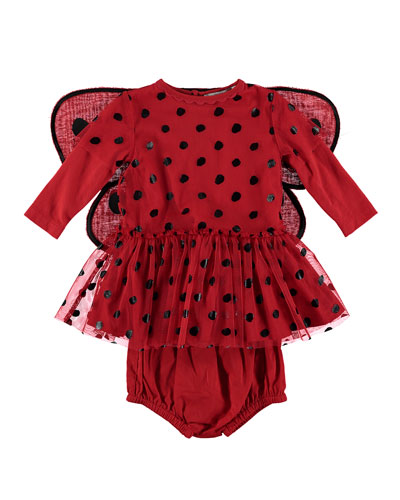 Ladybug Tulle Dress w/ 3D Wings  Size 6-36 Months