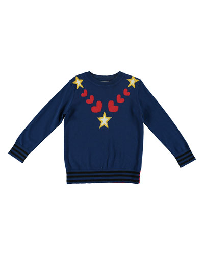 Star & Heart Intarsia Knit Sweater, Size 4-14
