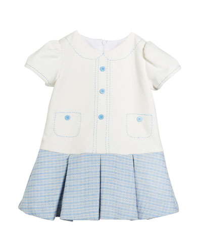 Drop-Waist Button Dress, Size 2-4T