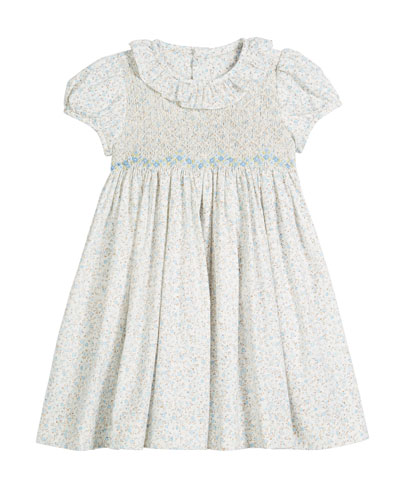 Ruffle-Collar Floral Smocked Dress, Size 2-4T