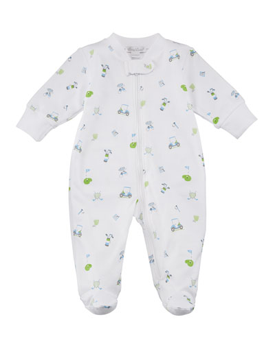 Daddy's Caddy Printed Zip-Front Footie Playsuit, Size Newborn-9M