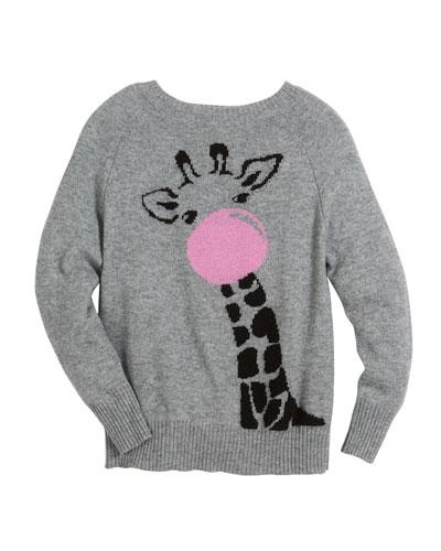 Bubble Gum Giraffe Raglan Sweater, Size 6-14