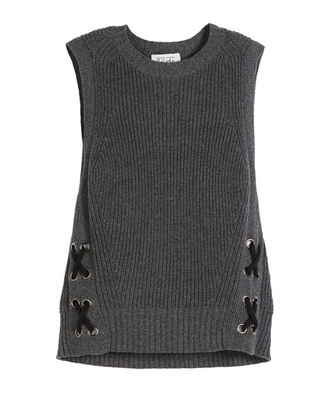 Autumn Cashmere Sleeveless Side-Lace Knit Sweater, Size 6-16