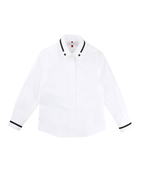 Givenchy Long-Sleeve Button-Down Shirt w/ Contrast Stars &
