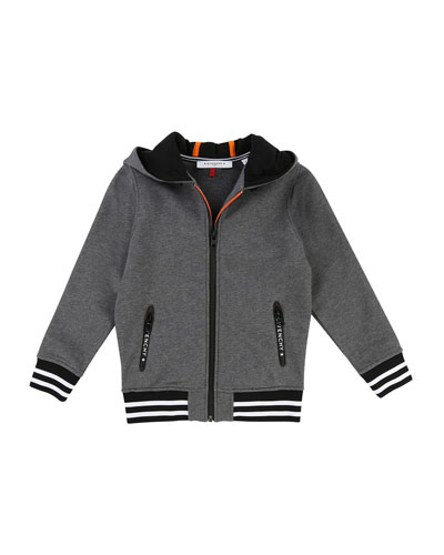 Hooded Zip-Up Jacket w/ Logo Back, Size 6-10