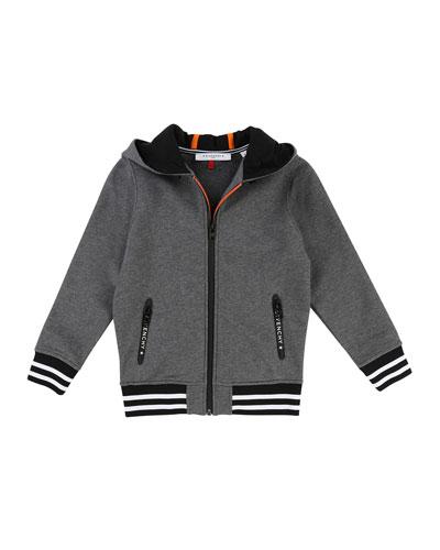 Hooded Zip-Up Jacket w/ Logo Back, Size 12-14