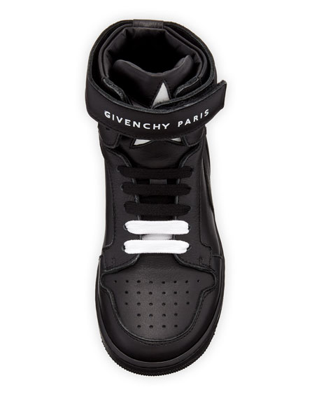 Leather High-Top Grip-Strap Sneakers, Kids