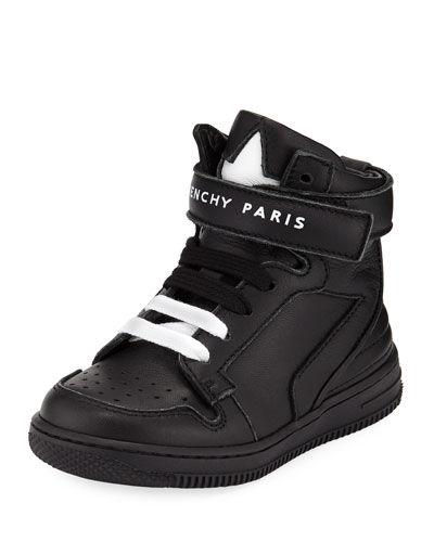 Leather High-Top Grip-Strap Sneakers, Toddler