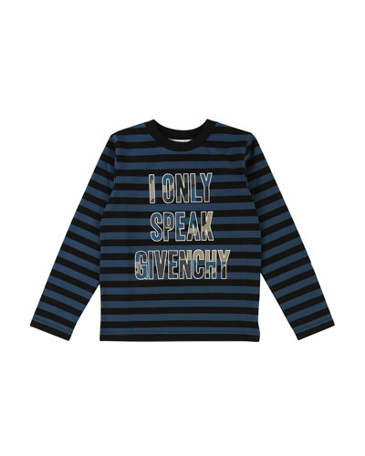 Striped I Only Speak Givenchy Long-Sleeve Tee, Size 6-10