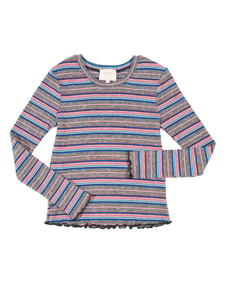 HANNAH BANANA Striped Ruffle-Hem Top, Size 7-16 in Multi