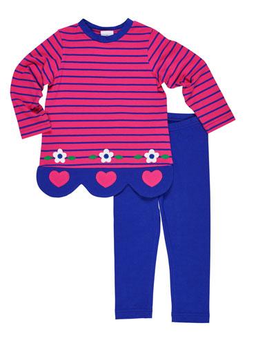 Striped Heart & Flower Scallop-Hem Top w/ Matching Leggings, Size 2-6X