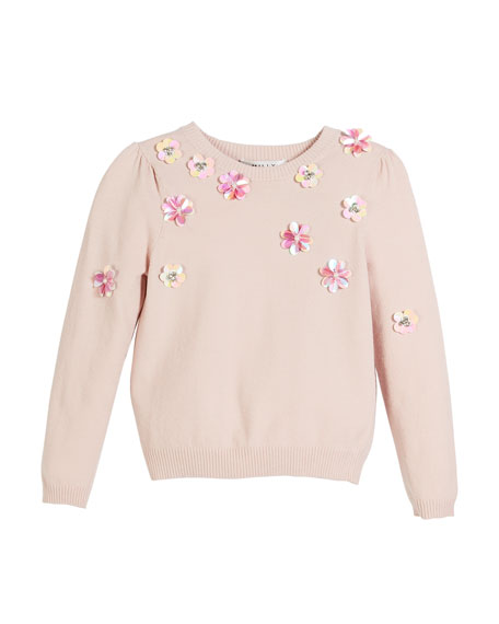 Beaded Floral Pullover Sweater, Size 8-16
