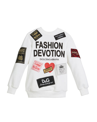 Fashion Devotion Sweatshirt w/ Patches, Size 8-12