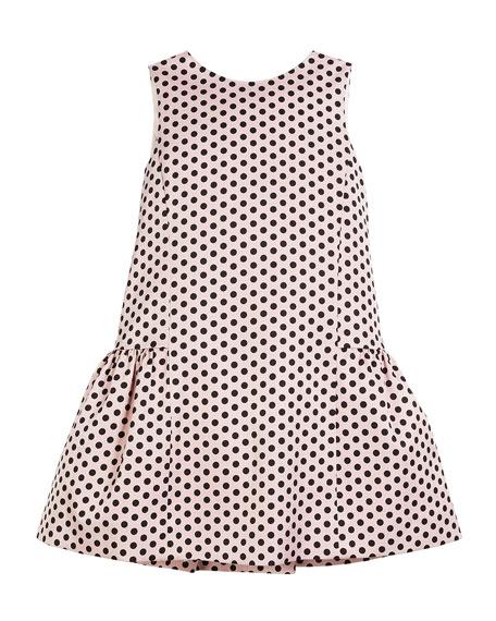 Milly Minis Camellia Polka-Dot Ruffle Party Dress, Size