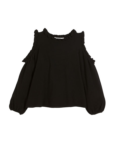 Cold-Shoulder Ruffle-Trim Sleeveless Top, Size 8-14