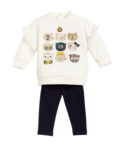 Kitten Sweatshirt w/ Solid Leggings, Size 6-36 Months