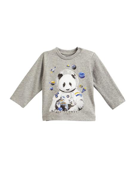 Mayoral Long-Sleeve Astronaut Panda T-Shirt, Size 6-36 Months